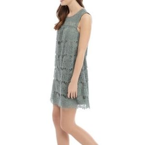 Olive Green All Over Lace Shift Dress